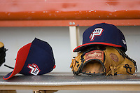Potomac Nationals caps sit on the bench in the home dugout at Pfitzner Stadium June 10, 2009 in Woodbridge, Virginia. (Photo by Brian Westerholt / Four Seam Images)