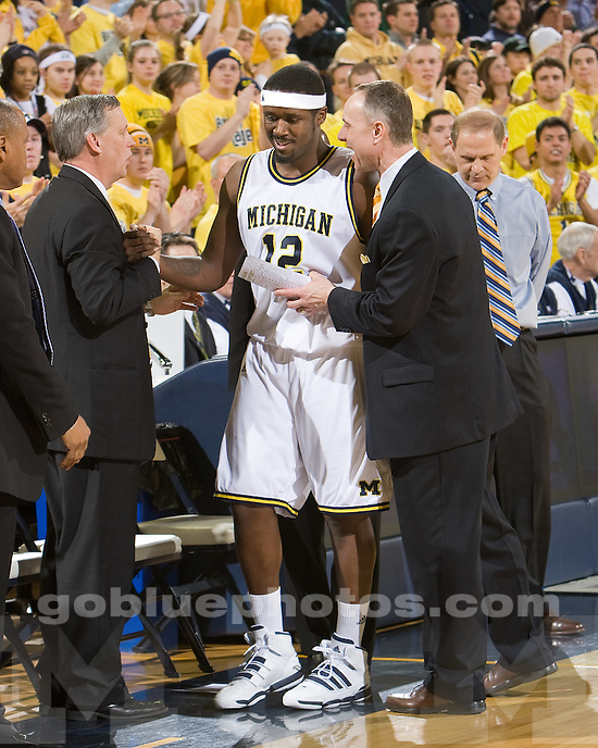 University of Michigan basketball 83-55 victory over Minnesota at Crisler Arena on senior night, March 2, 2010.