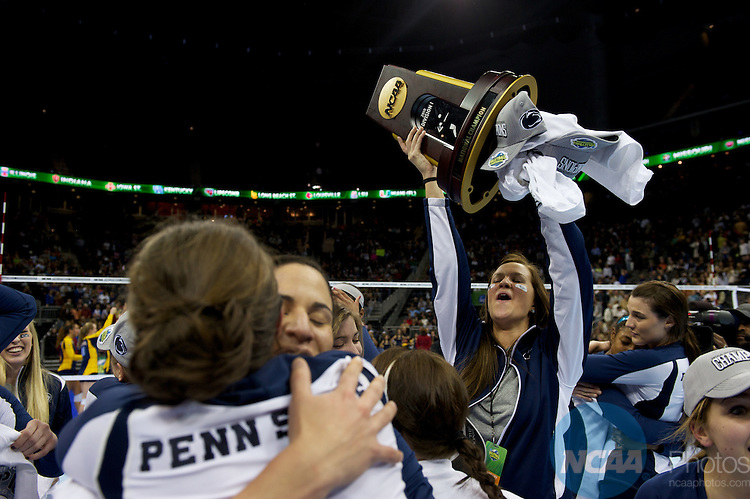 16 DEC 2010: Penn State takes on California during the Division I Women's Volleyball championship held at the Sprint Center in Kansas City,MO. Josh Duplechian/NCAA Photos.