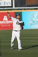 Paul Hoenecke (19) of the Rancho Cucamonga Quakes throws before a game against the High Desert Mavericks at LoanMart Field on August 3, 2015 in Rancho Cucamonga, California. Rancho Cucamonga defeated High Desert, 2-1. (Larry Goren/Four Seam Images)