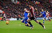 10th February 2018, Bramall Lane, Sheffield, England; EFL Championship football, Sheffield United versus Leeds United; Enda Stevens of Sheffield United and Adam Forshaw of Leeds United challenge for the ball