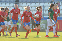 20190306 - LARNACA , CYPRUS : Czech team celebrating pictured during a women's soccer game between Czech Republic and Mexico , on Wednesday 6 March 2019  at the Antonis Papadopoulos Stadium in Larnaca , Cyprus . . This last game for both teams which decides for places 5 and 6 of the Cyprus Womens Cup 2019 , a prestigious women soccer tournament as a preparation on the Uefa Women's Euro 2021 qualification duels. PHOTO SPORTPIX.BE | STIJN AUDOOREN