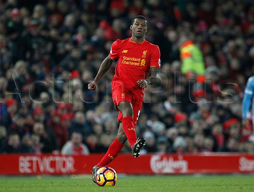 27.12.2016. Anfield, Liverpool, England.  EPL Premiership football, Liverpool versus Stoke. Liverpool midfielder Georginio Wijnaldum on the ball.