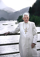 Private walk of Pope Benedict XVI during his summer vacation,<br />  looks at the 'Centro Cadore' lake in Domegge, Lorenzago di Cadore, in Italy's Dolomite mountains.<br /> <br /> July 23, 2007.