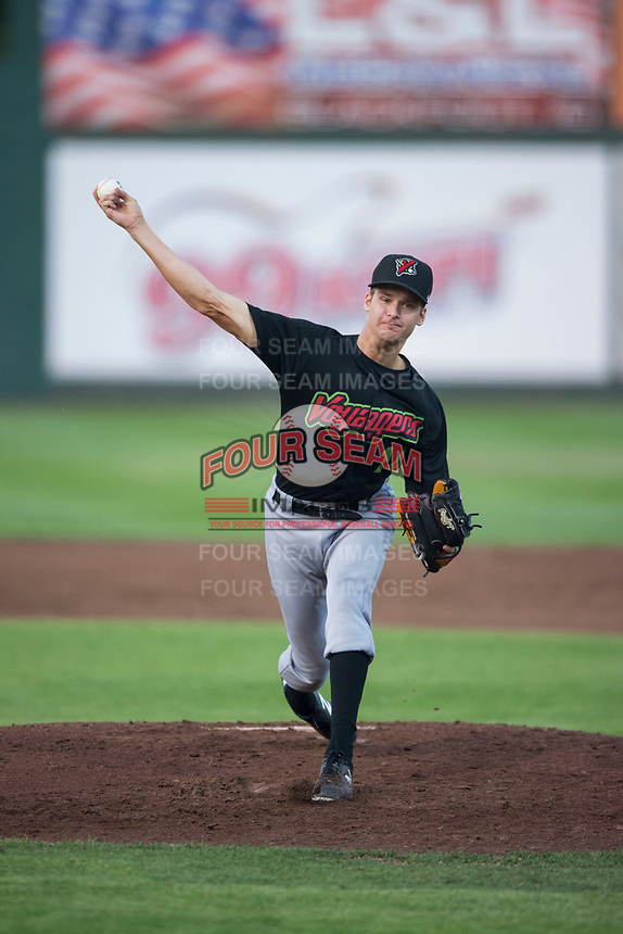 Great Falls Voyagers starting pitcher Jason Bilous (14) delivers a pitch during a Pioneer League game against the Idaho Falls Chukars at Melaleuca Field on August 18, 2018 in Idaho Falls, Idaho. The Idaho Falls Chukars defeated the Great Falls Voyagers by a score of 6-5. (Zachary Lucy/Four Seam Images)