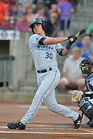 West Michigan Whitecaps designated hitter Colby Bortles (30) swings at pitch against the Cedar Rapids Kernels at Veterans Memorial Stadium on May 5, 2018 in Cedar Rapids, Iowa.  (Dennis Hubbard/Four Seam Images)