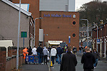 Fans walking towards the Jack Walker stand at Ewood Park, home of Blackburn Rovers, before the club played host to Aston Villa in a Barclays Premier League match. Blackburn won the match by two goals to nil watched by a crowd of 21,848. It was Rovers' first match under the ownership of Indian company Venky's.