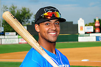 Hudson Valley Renegades outfielder Garrett Whitley (20), the 2015 first round draft pick of the Tampa Bay Rays, poses for a photo prior to a game versus the Lowell Spinners at Lelacheur Park on August 30, 2015 in Lowell, Massachusetts.  (Ken Babbitt/Four Seam Images)