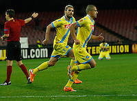 Gokhan Inler celebrates after scoring with teammate  Valon Behrami <br /> <br />  UEFA Europa League round of 32 second  leg match, betweenAC  Napoli  and Swansea City   at San Paolo stadium in Naples, Feburary 27 , 2014  <br /> <br /> esultanza