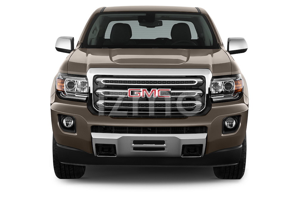 Car photography straight front view of a 2015 GMC Canyon Slt 4 Door Pickup 2WD Front View