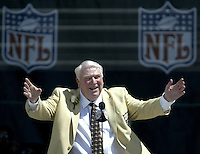 John Madden, coach of the Oakland Raiders for 10 seasons, speaks during his induction into the Pro Football Hall of Fame Saturday, Aug. 5, 2006, in Canton, Ohio.<br />