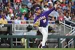 OMAHA, NE - JUNE 26: Nick Bush (29) of Louisiana State University throws to first base against the University of Florida during the Division I Men's Baseball Championship held at TD Ameritrade Park on June 26, 2017 in Omaha, Nebraska. The University of Florida defeated Louisiana State University 4-3 in game one of the best of three series. (Photo by Jamie Schwaberow/NCAA Photos via Getty Images)