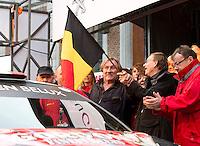Gérard Depardieu holds the Belgian flag at the Condroz Rally - Belgium