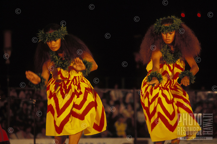 Kahiko hula (Ancient form) at the Merrie Monarch Festival, Hilo, Big Island