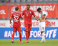 13th June 2020, Allianz Erena, Munich, Germany; Bundesliga football, Bayern Munich versus Borussia Moenchengladbach;  Joshua Kimmich (Bayern) and Jerome Boateng (Bayern) commiserate with Lars Stindl (Borussia Mönchengladbach)