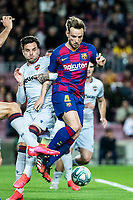 2nd February 2020; Camp Nou, Barcelona, Catalonia, Spain; La Liga Football, Barcelona versus Levante; Ivan Rakitic of FC Barcelona is grappled by Levante defenders