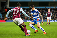 Queens Park Rangers' Pawel Wszolek challenges Aston Villa's Albert Adomah<br /> <br /> Photographer Andrew Kearns/CameraSport<br /> <br /> The EFL Sky Bet Championship -  Aston Villa v Queens Park Rangers - Tuesday 13th March 2018 - Villa Park - Birmingham<br /> <br /> World Copyright &copy; 2018 CameraSport. All rights reserved. 43 Linden Ave. Countesthorpe. Leicester. England. LE8 5PG - Tel: +44 (0) 116 277 4147 - admin@camerasport.com - www.camerasport.com