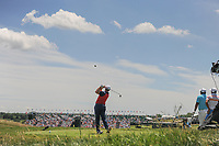 Jon Rahm (ESP) watches his tee shot on 9 during Thursday's round 1 of the 117th U.S. Open, at Erin Hills, Erin, Wisconsin. 6/15/2017.<br /> Picture: Golffile | Ken Murray<br /> <br /> <br /> All photo usage must carry mandatory copyright credit (&copy; Golffile | Ken Murray)