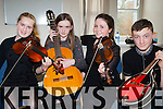 Meadhbh O'Sullivan Killorglin, Aisling Teahan Aghadoe, Caoimhe Doyle Muckross and Ruairí Mee Killarney who competed at the Young Musician of the Year competition in the KDYS on Saturday