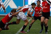 February 14 2009, San Diego, CA, USA:  The IRB USA Sevens Tournament at Petco Park in Downtown San Diego.  A USA player is tackled by a Canadian player during day one action.