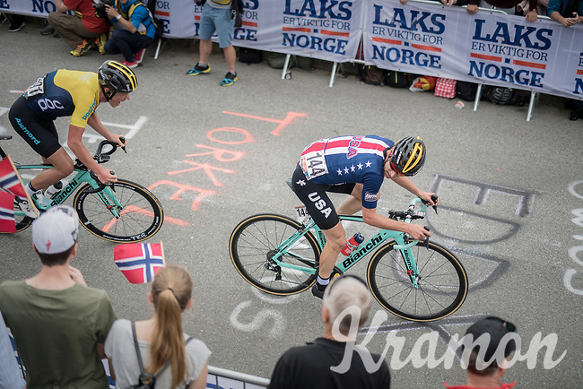 Alexey Vermeulen (USA/LottoNL-Jumbo) up Salmon Hill<br /> <br /> Men Elite Road Race<br /> <br /> UCI 2017 Road World Championships - Bergen/Norway