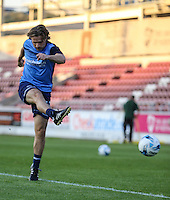 Gareth Ainsworth (Manager) of Wycombe Wanderers warms up with some shooting practice after naming himself as a substitute ahead of The Checkatrade Trophy match between Northampton Town and Wycombe Wanderers at Sixfields Stadium, Northampton, England on 30 August 2016. Photo by David Horn / PRiME Media Images.
