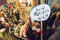 """Mieter protestieren gegen Immobilienkonzern """"Deutsche Wohnen"""".<br /> Mieter der Otto-Suhr-Siedlung im Berliner Stadtteil Kreuzberg sind durch die energetischen Sanierungsmassnahmen des Immobilienkonzern """"Deutsche Wohnen"""" von Mietehoehungen bis zu 50% betroffen. Die Aktiengesellschaft veranschlagt die Sanierungskosten fuer die Mieter damit doppelt so hoch, wie die benachbarte staedtische Wohnungsbaugesellschaft Mitte (WBM).<br /> Nach Aussagen von Mieterinitiativen in der Otto-Suhr-Siedlung sind bis zu 80% der ca. 1000 Wohnungen damit akut gefaehrdet, da sie die Miete nach Abschluss der Modernisierungsarbeiten dann nicht mehr bezahlen koennen oder vom Jobcenter bezahlt bekommen, da sie weit ueber den Saetzen liegen, die uebernommen werden.<br /> Die Mieter haben einen offenen Brief an die Bezierksverordnetenversammlung (BVV) Friedrichshain-Kreuzberg geschrieben und fordern sie darin auf, sie gegen die geplanten energetischen Modernisierungen und die damit verbundenen Mieterhoehungen zu unterstuetzen. """"Der neu gewaehlte Berliner Senat hat eine soziale Wohnungspolitik zum zentralen Wahlkampfthema gemacht. Daher fordern wir, dieses Versprechen einzuloesen"""" so die Mieter.<br /> Im Bild: Betroffene Mieter haben sich vor dem Bezirksrathaus versammelt um den Fraktionsvorsitzenden in der BVV einen Offenen Brief und Unterschriften der Mieter zu ueber geben. Anschliessend nahmen sie an der BVV-Sitzung teil.<br /> 8.2.2017, Berlin<br /> Copyright: Christian-Ditsch.de<br /> [Inhaltsveraendernde Manipulation des Fotos nur nach ausdruecklicher Genehmigung des Fotografen. Vereinbarungen ueber Abtretung von Persoenlichkeitsrechten/Model Release der abgebildeten Person/Personen liegen nicht vor. NO MODEL RELEASE! Nur fuer Redaktionelle Zwecke. Don't publish without copyright Christian-Ditsch.de, Veroeffentlichung nur mit Fotografennennung, sowie gegen Honorar, MwSt. und Beleg. Konto: I N G - D i B a, IBAN DE58500105175400192269, BIC INGDDEFFXXX, Kontakt: post@christian-ditsch.de<br /"""