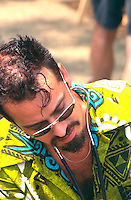 Man age 30 participating in Cedarfest Summer Music Festival.  Minneapolis Minnesota USA