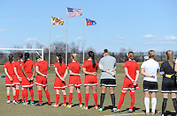 Boyds, Maryland - March 15, 2014. Washington Spirit during the signing of the National Anthem. The Washington Spirit during the Meet the Team at the Maryland SoccerPlex.