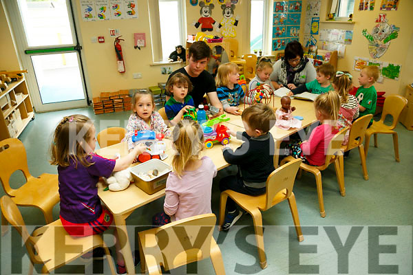 Buddies Rescues Centre, Ballyduff Kids at Creche. Pictured  Laura Healy, Under 5's Leader and Alan Wynn, Childcare Assistant with some of the children of Buddies