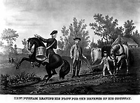 Genl. Putman Leaving his Plow for the Defence of his Country.  1775. Copy of lithograph.   (George Washington Bicentennial Commision)<br />