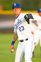 Bubba Starling #23 of the Burlington Royals warms up in the outfield prior to the game against the Bristol White Sox at Burlington Athletic Park on July 6, 2012 in Burlington, North Carolina.  The Royals defeated the White Sox 5-2.  (Brian Westerholt/Four Seam Images)