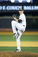 Wake Forest Demon Deacons relief pitcher Morgan McSweeney (35) in action against the USC Trojans at David F. Couch Ballpark on February 24, 2017 in  Winston-Salem, North Carolina.  The Demon Deacons defeated the Trojans 15-5.  (Brian Westerholt/Four Seam Images)
