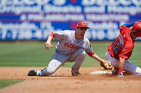 Florida Fire Frogs second baseman Riley Delgado (8) tags Simon Muzziotti (12) out on a stolen base attempt during a Florida State League game against the Clearwater Threshers on April 24, 2019 at Spectrum Field in Clearwater, Florida.  Clearwater defeated Florida 13-1.  (Mike Janes/Four Seam Images)