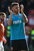 Fleetwood Town's Ashley Eastham applauds the fans<br /> <br /> Photographer Richard Martin-Roberts/CameraSport<br /> <br /> The EFL Sky Bet League One - Blackpool v Fleetwood Town - Saturday 14th April 2018 - Bloomfield Road - Blackpool<br /> <br /> World Copyright &not;&copy; 2018 CameraSport. All rights reserved. 43 Linden Ave. Countesthorpe. Leicester. England. LE8 5PG - Tel: +44 (0) 116 277 4147 - admin@camerasport.com - www.camerasport.com
