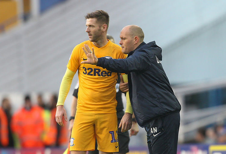 Preston North End's Manager Alex Neil talks to Preston North End's Paul Gallagher<br /> <br /> Photographer Mick Walker/CameraSport<br /> <br /> The EFL Sky Bet Championship - Birmingham City v Preston North End - Saturday 1st December 2018 - St Andrew's - Birmingham<br /> <br /> World Copyright &copy; 2018 CameraSport. All rights reserved. 43 Linden Ave. Countesthorpe. Leicester. England. LE8 5PG - Tel: +44 (0) 116 277 4147 - admin@camerasport.com - www.camerasport.com