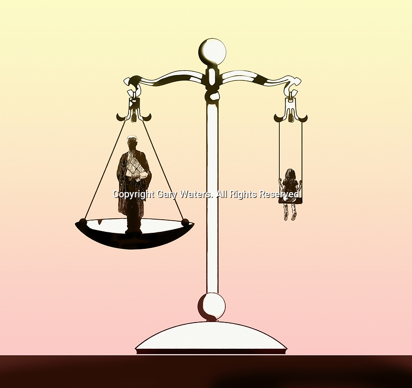 Scales of justice balancing barrister with child