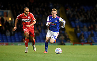 Ipswich Town's Freddie Sears (right)  under pressure from  Middlesbrough's Martin Braithwaite (left) <br /> <br /> Photographer Hannah Fountain/CameraSport<br /> <br /> The EFL Sky Bet Championship - Ipswich Town v Middlesbrough - Tuesday 2nd October 2018 - Portman Road - Ipswich<br /> <br /> World Copyright &copy; 2018 CameraSport. All rights reserved. 43 Linden Ave. Countesthorpe. Leicester. England. LE8 5PG - Tel: +44 (0) 116 277 4147 - admin@camerasport.com - www.camerasport.com