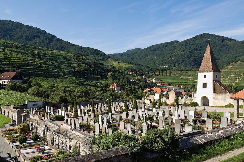 Austria, Lower Austria, Spitz at river Danube: wine growing region at UNESCO World Heritage Wachau, cemetery with chapel