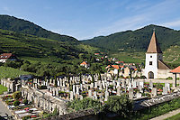 Austria, Lower Austria, Spitz at river Danube: wine growing region at UNESCO World Heritage Wachau, cemetery with chapel