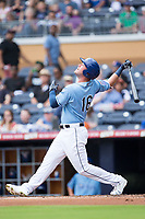 Casey Gillaspie (16) of the Durham Bulls follows through on his swing against the Buffalo Bisons at Durham Bulls Athletic Park on April 30, 2017 in Durham, North Carolina.  The Bisons defeated the Bulls 6-1.  (Brian Westerholt/Four Seam Images)