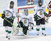 Joe Finley, Jordan Parise, Chris Porter - The Boston College Eagles defeated the University of North Dakota Fighting Sioux 6-5 on Thursday, April 6, 2006, in the 2006 Frozen Four afternoon Semi-Final at the Bradley Center in Milwaukee, Wisconsin.
