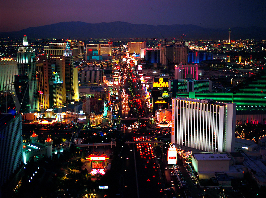Overview of the Las Vegas strip in Nevada.