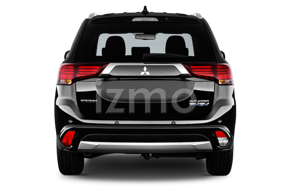 Straight rear view of 2016 Mitsubishi Outlander Phev PHEV 5 Door Suv Rear View  stock images