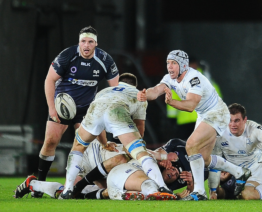 Leinster's Isaac Boss in action during todays match<br /> <br /> Photographer Craig Thomas/CameraSport<br /> <br /> Rugby Union - Guinness PRO12 - Ospreys V Leinster - Friday 27th February 2015 - Liberty Stadium - Swansea<br /> <br /> &copy; CameraSport - 43 Linden Ave. Countesthorpe. Leicester. England. LE8 5PG - Tel: +44 (0) 116 277 4147 - admin@camerasport.com - www.camerasport.com