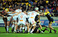 The ball pops out of the scrum during the Super Rugby semifinal match between the Hurricanes and Chiefs at Westpac Stadium, Wellington, New Zealand on Saturday, 30 July 2016. Photo: Dave Lintott / lintottphoto.co.nz