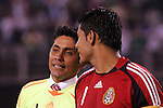 June 04 2008:  Jorge Campos (left) of Mexico goalie fame talks with  Oswaldo Sanchez (Santos) (1) current goalie for Mexico.  During Mexico's 2008 USA Tour in preparation for qualification for FIFA's 2010 World Cup, the national soccer team of Mexico was defeated by Argentina 1-4 at Qualcomm Stadium, in San Diego, CA.