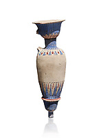 Ancient Egyptian decorated vase , tomb of Kha, Theban Tomb 8 , mid-18th dynasty (1550 to 1292 BC), Turin Egyptian Museum. White background. Cat 8465.<br /> <br /> TT8 or Theban Tomb 8 was the tomb of Kha, the overseer of works from Deir el-Medina in the mid-18th dynasty[2] and his wife, Merit. TT8 was one of the greatest archaeological discoveries of ancient Egypt, one of few tombs of nobility to survive intact.