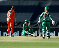 2nd November 2019; Western Australia Cricket Association Ground, Perth, Western Australia, Australia; Womens Big Bash League Cricket, Perth Scorchers versus Melbourne Stars; Lizelle Lee of the Melbourne Stars sits on the pitch after being struck in the face by a delivery - Editorial Use