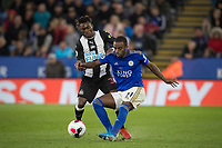 Christian Atsu of Newcastle United & Ricardo Pereira of Leicester City during the Premier League match between Leicester City and Newcastle United at the King Power Stadium, Leicester, England on 29 September 2019. Photo by Andy Rowland.